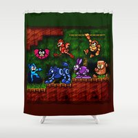 megaman Shower Curtains featuring Megaman Woodman by likelikes