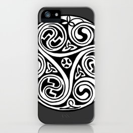 Celtic Art - Triskele - on Grey iPhone Case