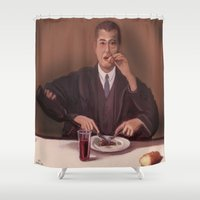 magritte Shower Curtains featuring Rene Magritte- self portrait by Dano77