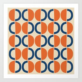 Mid Century Modern Half Circle Pattern 534 Beige Blue and Orange Art Print