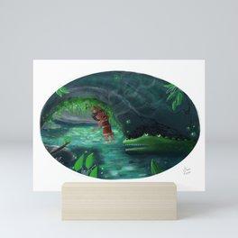 Sina and the Crocodile Mini Art Print