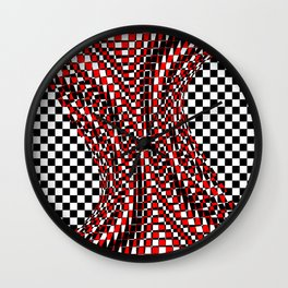 black white red 4 Wall Clock