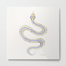Snake Skeleton – Periwinkle & Gold Metal Print