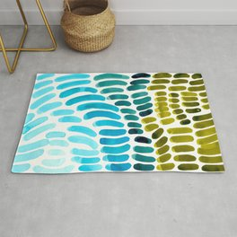 Complementary colors Blue Green Watercolor Natural Pattern Colorful Mid Century Modern Art Rug