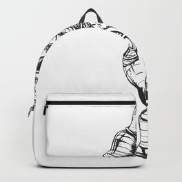 knight skeleton - warrior illustration - skull black and white Backpack