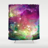 dragons Shower Curtains featuring Space Dragons by Roger Wedegis
