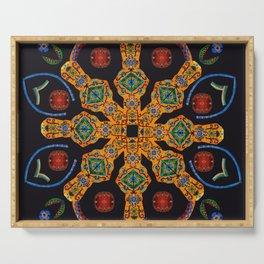 Gold Mandala Black Serving Tray