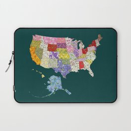 United States in Flowers Laptop Sleeve