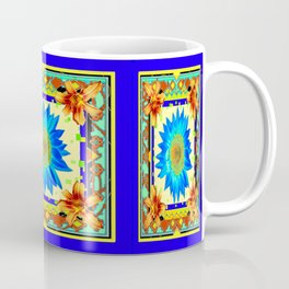 Blue Floral Southwest Deco Style Design Coffee Mug