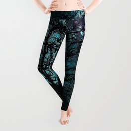Black Trees Teal Violet space Leggings