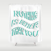 5 seconds of summer Shower Curtains featuring LOST BOY // 5 SECONDS OF SUMMER by grlpower