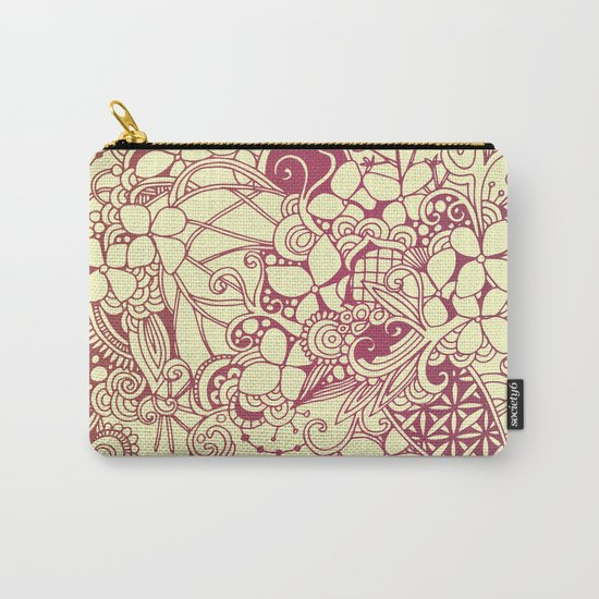 Yellow square, pink floral doodle, zentangle inspired art pattern Carry-All Pouch