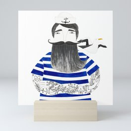 tattoo sailor in blue stripes and white background watercolor illustration Mini Art Print