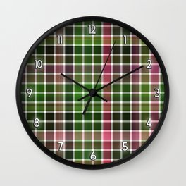 Pink Roses in Anzures 3 Plaid 2 Wall Clock