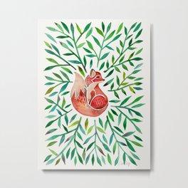 Woodland Fox – Green Leaves Metal Print