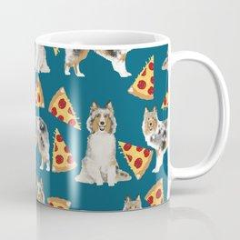 Sheltie shetland sheepdog pizza slices cheese pizzas dog breed pet friendly custom dogs Coffee Mug