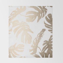 Simply Tropical Palm Leaves in White Gold Sands Throw Blanket