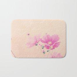 Pastel Pink Flowers mixed media art Bath Mat