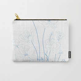 cosmos flowers line drawing Carry-All Pouch