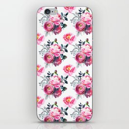 Hand painted blush pink gray yellow watercolor roses pattern iPhone Skin