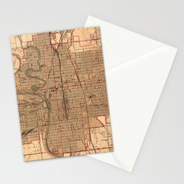 Vintage Map of Wichita Kansas (1943) Stationery Cards