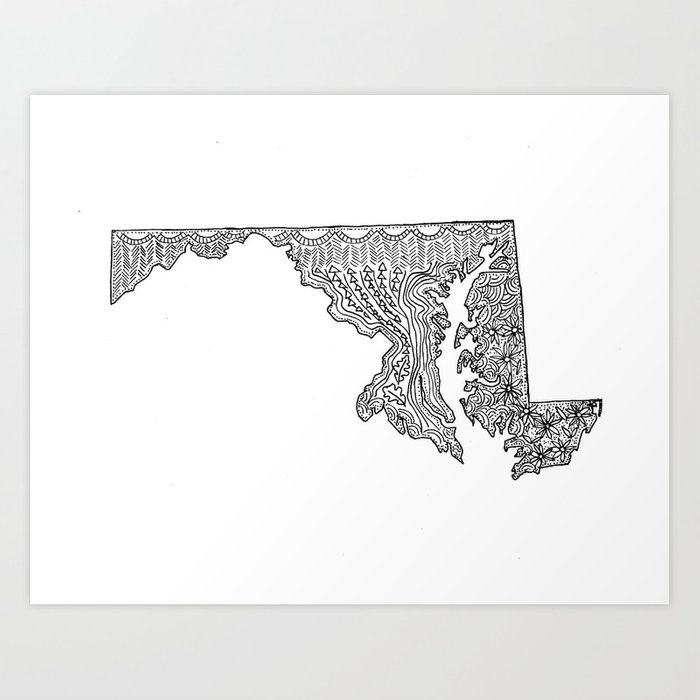 Maryland State Map Illustration Art Print by sarahwormann on graffiti of maryland, layout of maryland, landscape of maryland, graph of maryland, icons of maryland, clipart of maryland, food of maryland, drawing of maryland, cartoon of maryland,