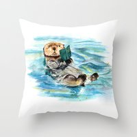 otter Throw Pillows featuring Otter by Anna Shell