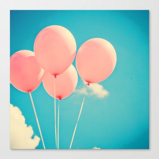Vintage Pink Balloon Bunch Canvas Print