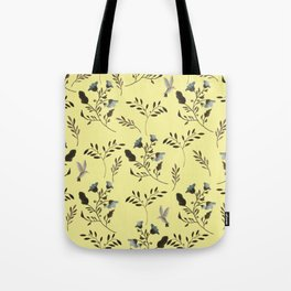 Butter Yellow and Bluebells and Bluebirds Floral Pattern Flowers in Blue and Bark Brown Tote Bag