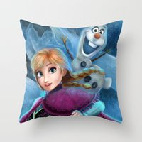 olaf Throw Pillows featuring Anna & Olaf  by This Is Niniel Illustrator