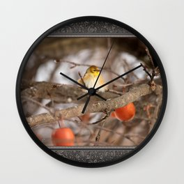 American Goldfinch in Winter Wall Clock