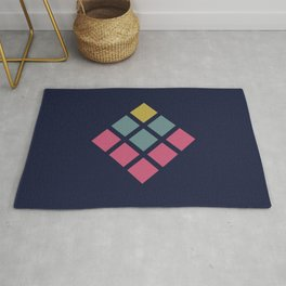 Classic Colorful Abstract Minimal Retro Style Rubix Cube Rug