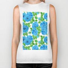 Blue roses watercolor seamless pattern Biker Tank
