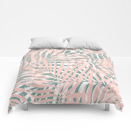 Tropical Green and Pink, Summer Palm Leaves Pattern Comforters