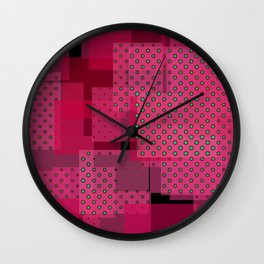 Pink Patchwork Wall Clock