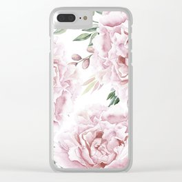 Girly Pastel Pink Roses Garden Clear iPhone Case