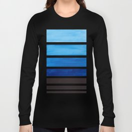 Prussian Blue Minimalist Watercolor Mid Century Staggered Stripes Rothko Color Block Geometric Art Long Sleeve T-shirt