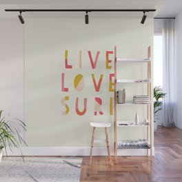 Live Love Surf Lettering  Wall Mural