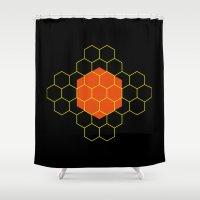 hexagon Shower Curtains featuring HEXAGON by KARNATARKA
