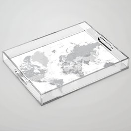 """Gray world map with cities, states and capitals, """"in the city"""" Acrylic Tray"""