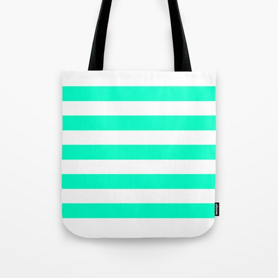 Mint White Stripes Tote Bag