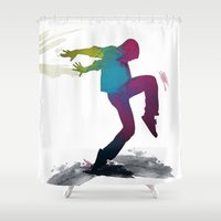 dancer Shower Curtains featuring dancer by PiliArt