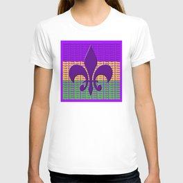 Mardi Gras  tri color with Fleur de lis T-shirt