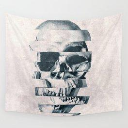 Glitch Skull Mono Wall Tapestry