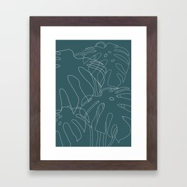Monstera No2 Teal Framed Art Print