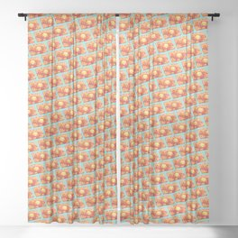 Waffle Pattern - Blue Sheer Curtain
