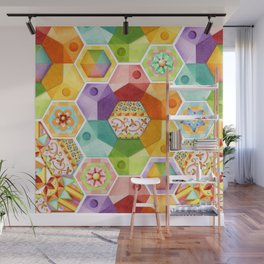 Circus Rainbow Hexagons Wall Mural