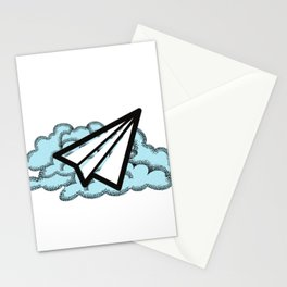 Paperplane in Clouds Stationery Cards