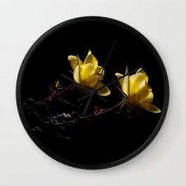 Yellow roses on black -4 Wall Clock