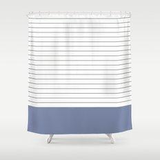 Vintage Dark Grey and Blue Stripes Shower Curtain